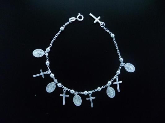 Bracelet with miraculous and crosses